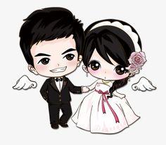Cartoon married couple, Cartoon, Lovers, Wedding PNG Image
