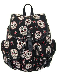 This Day Of The Dead Backpack the perfect accessory to hold all of your dia de los muertos paraphernalia.