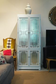 Jenny from the Little Green Notebook does it again! Silver leaf inside a glass-door cabinet - looks amazing. Glass Front Cabinets, Glass Cabinet Doors, Cabinet Drawers, Glass Doors, Upcycled Furniture, Home Furniture, Furniture Ideas, Furniture Update, Furniture Refinishing