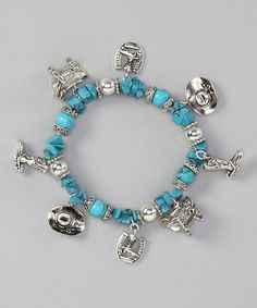 Take a look at this Turquoise Cowboy Stretch Bracelet by Gabrielle Jewelry on #zulily today!