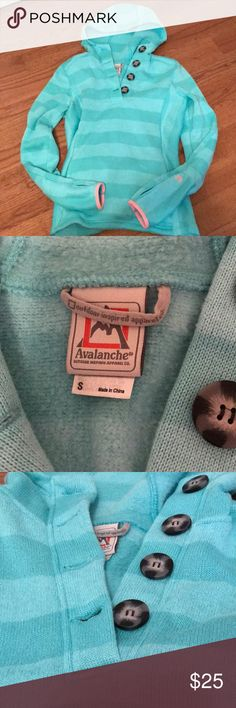 Beautiful Avalanche Hoodie. Tealish striped hoodie.  Super warm and cozy. Thumb holes.  Cute brown buttons and pink trim. avalanche Tops Sweatshirts & Hoodies