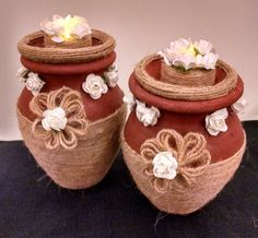 Diyas Jute Crafts, Diy Home Crafts, Diy Home Decor, Arts And Crafts, Art N Craft, Craft Work, Diwali Decoration Items, Festival Decorations, Wedding Decorations