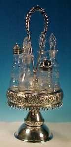 Antique PAIRPOINT Quadruple Silver Plate Dinner Cruet Castor Caster Set.  Elegant Victorian