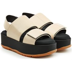 Marni Leather Platform Sandals (1,995 ILS) ❤ liked on Polyvore featuring shoes, sandals, white, open toe sandals, chunky-heel sandals, marni sandals, white platform sandals and leather sandals