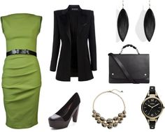 """""""Here For The Same Conference (lime and black)"""" by frogchickk on Polyvore"""