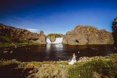 Intimate wedding at Games of Thrones location at Hjalparfossar in South Iceland