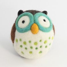 Adorable owl made from wool.