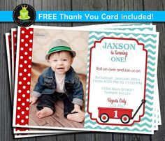 Little Red Wagon Birthday Invitation  FREE by ForeverYourPrints, $15.00