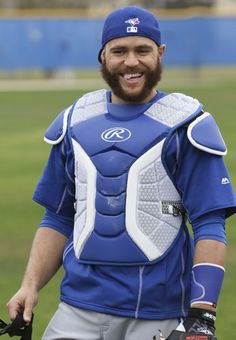 Toronto Blue Jays catcher Russell Martin during spring training workouts at Florida Auto Exchange Stadium Mandatory Credit: Reinhold Matay-USA TODAY Sports Blue Jay Way, Go Blue, Baseball Toronto, Sports Baseball, Baseball Stuff, Russell Martin, Mlb Players, Usa Today Sports, Mlb Teams