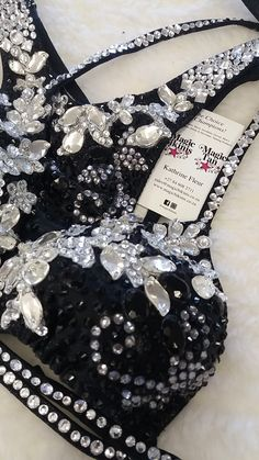 Black Crystalled WBFF Bikini by Crystal Flowers. Fitness Show, Wbff Bikini, Competition Bikinis, Black Crystals, Clear Crystal, Cool Outfits, Bead, Awesome