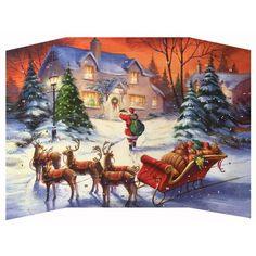 "Santa's Special Delivery Advent Calendar ~ England ~ 9-3/4"" tall"