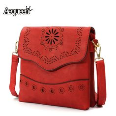Women Flower Carved Hollow Out Vintage Messenger Corssbody PU Leather Flap Bag Casual Shoulder Bags Girls Gifts Fashion Designer -- Details can be found by clicking on the image.