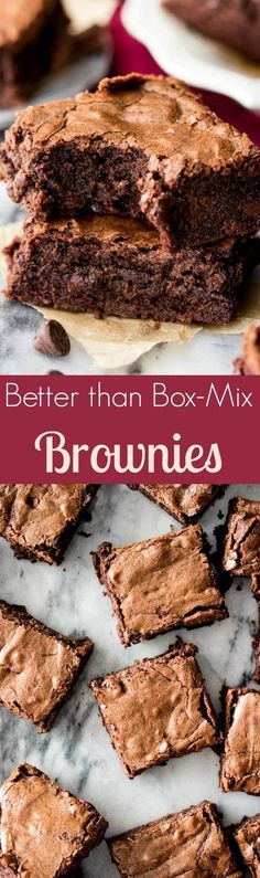Homemade Brownies from Scratch -- easy, chewy, chocolaty, and made in one bowl!