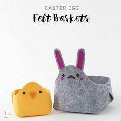 Come fare due modelli di cestino porta uova pasquali in feltro facilissimi: tutorial con spiegazioni e cartamodelli gratis.