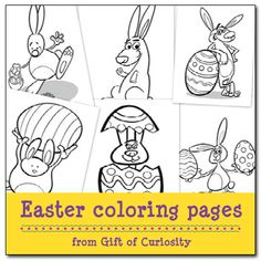 Easter coloring pages - free Easter printables featuring six pages available for download || Gift of Curiosity