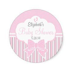 Pink Dots and Stripes-Baby Shower Round Sticker