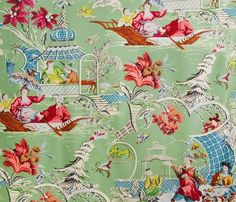 Named for the 18th-century artist, Jean-Baptiste Pillement, the Pillement prints of Brunschwig & Fils (photo), Waterhouse Wallhangings, Scalamandre, and Quadrille are all Chinoiserie in style, which refers to the artist Pillement's then-popular (and still popular) Chinoiserie engravings.  Although each Pillement print is unique, they are all quite charming. The Peak of Chic®: The Name Game
