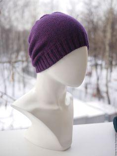 Купить Вязаная шапка - тёмно-фиолетовый, однотонный, шапка, женская апка, мужская шапка