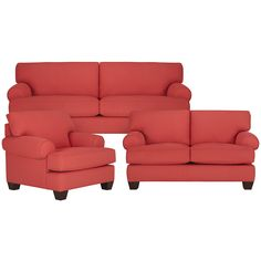 The vibrant tones of the Quinn fabric sofa brighten up your living space. Detailed with casually rolled arms, clean block feet, and our patented Triple Comfort Cushions, this loveseat is dressed to impress with its radiant coral fabric. Quinn is manufactured in Mississippi, exclusively for City Furniture, by Kevin Charles Fine Upholstery.