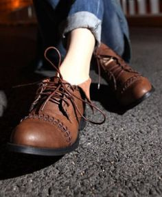Brown Lace Up Boots with Stitched Details