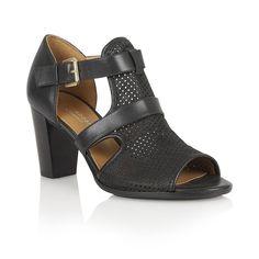 Naturalizer Shoes Draft Black Perfed Nubuck Open-Toe Shoes