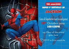 Digital (You print) Spiderman Birthday Invitations, Rsvp Wording, Everything Will Be Ok, All Superheroes, Thank You Tags, Kid Names, Favor Tags, Digital Image, All The Colors