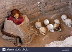 Nazca people mummy close to Nazca, Peru, Chauchilla cemetery, from about 200 AD Stock Photo