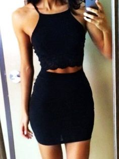 black lace halter sleeveless cut out waist slim short Dress - black cut out dress, black cut out shoulder dress - Total Street Style Looks And Fashion Outfit Ideas