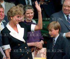 July 2, 1994: Princess Diana with Prince William arrive at the Martina Navratilova VS. Conchita Martinez, woman's singles final at Wimbledon.