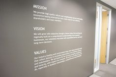 Interior signs impress prospects, enhance your brand and boost staff morale. Corporate Office Design, Office Branding, Office Wall Decor, Office Walls, Office Spaces, Sign Design, Wall Design, Company Core Values, Office Wall Graphics