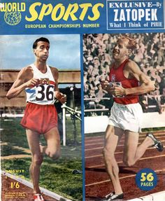 Gordon Pirie and Emil Zatopek on the cover of the European Athletics Championship issue of World Sports, August 1954