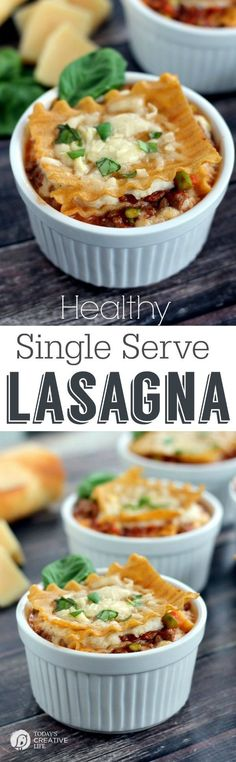 Single Serve Healthy Lasagna | Dinner Recipe ideas | See more recipes on TodaysCreativeLife.com