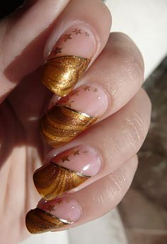 "Gold Water Marble French tips: OPI ""Bling Dynasty"" & Cover Girl ""Goin 'My Way Golden"", strip Stars: Konad and CG 2030 New Year's Nails, Great Nails, Cute Nail Art, Hot Nails, Beautiful Nail Art, Hair And Nails, Acrylic Nail Art, Gel Nail Art, Nail Polish"