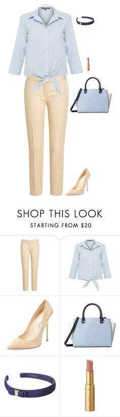 """""""Untitled #142"""" by dressed-to-the-nines ❤ liked on Polyvore featuring Joseph, ELLIOTT LAUREN, Jimmy Choo, MICHAEL Michael Kors, Salvatore Ferragamo, Too Faced Cosmetics, Kate Spade, Blue, navy and beige"""
