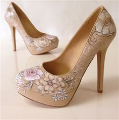 Kiss the Bride platforms | Bridal heels featuring a nude background with pale pink, Beige and ivory floral design | Hand painted wedding shoes by professional artist at Hourglass Footwear in Seattle