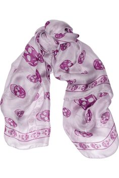 Shop the new season Alexander McQueen women's collection at NET-A-PORTER, discover luxury range of clothes, bags and accessories. Chiffon Scarf, Silk Chiffon, Alexander Mcqueen Skull Scarf, Pink Skull, Mauve, Lilac, Purple, Chloe Shoes, Little Fashion