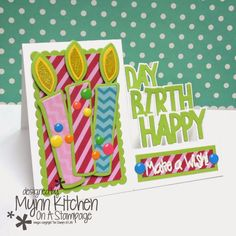 hand crafted birthday card from On A Stampage ..: The Stamps of Life ... side step format ... greeting on the steps ... three candles on the panel ... bright and colorful ...
