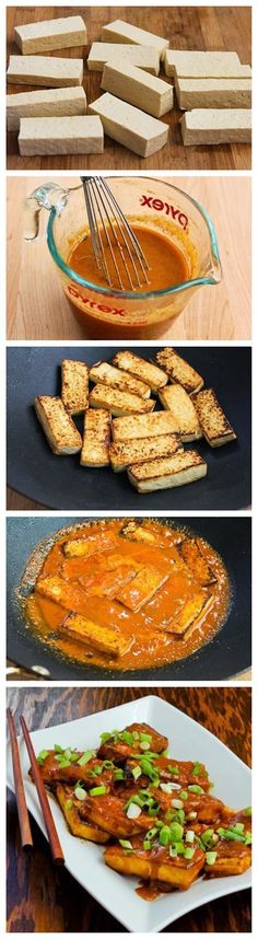 Recipe for Spicy Vegan Peanut Butter Tofu with Sriracha - just have to drop the sriracha for you ;) Peanut Sauce Recipes, Firm Tofu Recipes, Peanut Sauce Tofu, Recipes With Peanut Butter, Tempeh Recipes Vegan, Spicy Vegetarian Recipes, Homemade Peanut Sauce, Tofu Sauce, Homemade Tofu