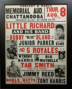 "1957 R & B / Rock & Roll Concert Poster with Little Richard, Bobby ""Blue"" Bland, Junior Parker, The 5 Royales & more."