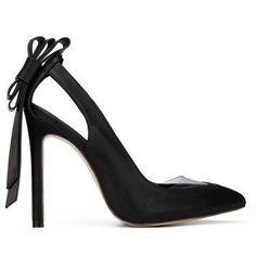 Black Leather Look Bowknot High Heels
