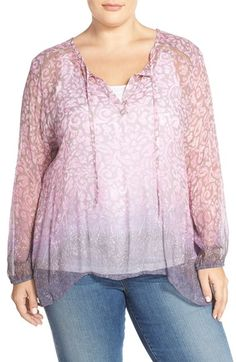 Lucky Brand Watercolor Border Print Top (Plus Size) available at #Nordstrom