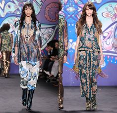 Anna Sui 2015 Spring Summer Womens Runway Catwalk Looks - Mercedes-Benz Fashion Week New York MBFW NYFW - 1970s Seventies Psychedelic Bohemian Denim Jeans 3D Embellishments Adornments Bejeweled Shorts Embroidery Bow Flowers Florals Flare Wide Leg Trousers Palazzo Pants Sequins Crop Top Midriff Dress Skirt Frock Knit Sweater Jumper Polka Dots Ruffles Maxi Babydoll Dress Glitters Stripes Tassels Crochet Mesh Stars