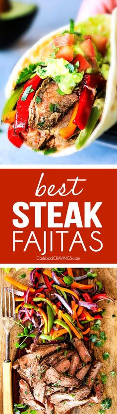 The absolute BEST tender, juicy Steak Fajitas - even more flavorful than any restaurant! The secret is the rich marinade AND a spice rub - holy yum! you will never make another fajita recipe again!
