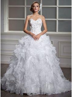 Corte de baile Escote corazón Cola corte Satén Organdí Vestido de novia con Bordado Lentejuelas Cascada de volantes