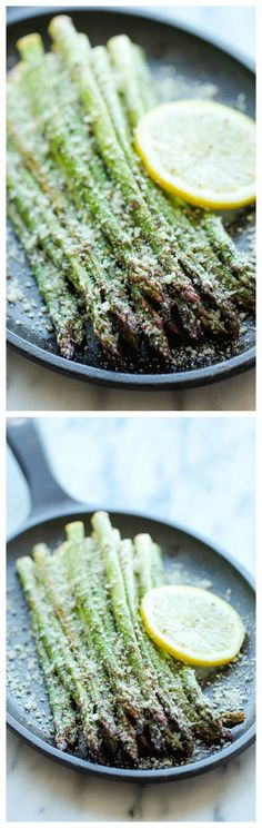 Lemon Parmesan Asparagus - A quick and easy side dish with fresh lemon juice, garlic and Parmesan goodness, made with just 5 min prep!