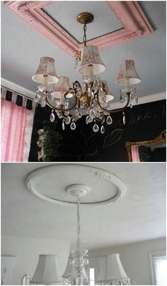 Ceiling Medallion made from picture frame! Clever.