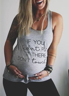 Funny Pregnancy Shirt | If You Didn't Put It There Don't Touch It maternity shirt. This is SO perfect for a pregnant woman with a sense of humor who wants people to stop touching the baby bump. Perfect gift idea for a baby shower or pregnancy gift, and would also make a cute pregnancy announcement photo outfit. #Affiliate #PregnancyWardrobe #Maternity