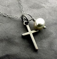 Small Cross Necklace with white pearl  sterling by KathrynRiechert, $28.00