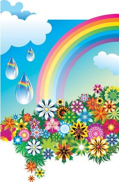 rainbow and raindrops over flowers Love Rainbow, Rainbow Flowers, Rainbow Wall, Rainbow Colors, Balloon Background, Free Vector Graphics, Arte Floral, Flower Backgrounds, Flower Frame
