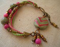 Rose Kazuri Chevron Beadwork Bracelet Beaded by BlueQuailDesign